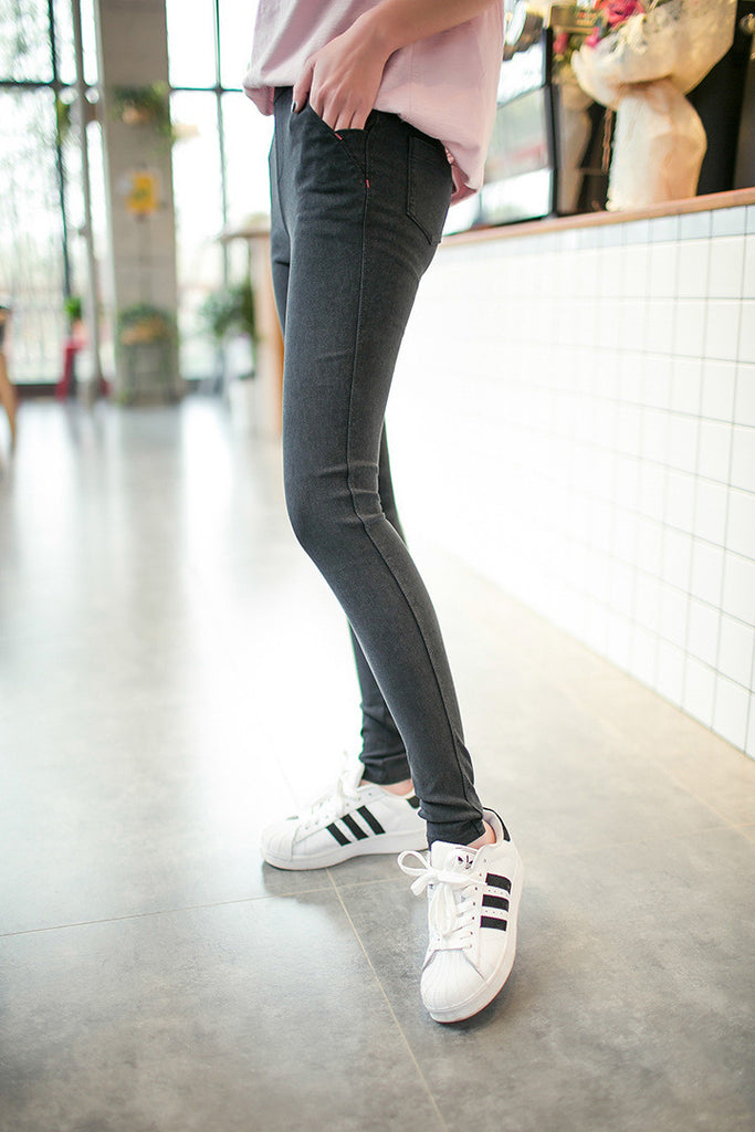 2016 Women Jeans Leggings Skinny Slim Thin High Elastic Waist Washed Jeans Jeggings Pencil Pants Denim Leggings For Women