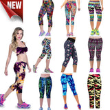Women High Quality capris High Waisted Floral Printing Cotton Soft Pants Lady Fitness Workout Leggings for girls Activewear