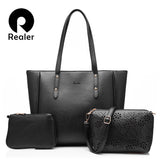 REALER brand 3 pcs/set women handbags female tote bag women solid shoulder bags ladies casual hollow out design messenger bag