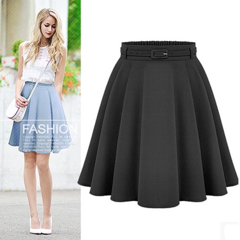2016 A Line Flare Pleated Fashion Street Style Women Solid Black Plain Casual Vintage Midi Skirt with Belt blue black plus size