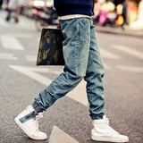 New Mens Korean Style Distrressed Jogger Folds Jeans Gradient Slim Fit Pants Skinny Stretch Elastic jeans Asian Size,JA265
