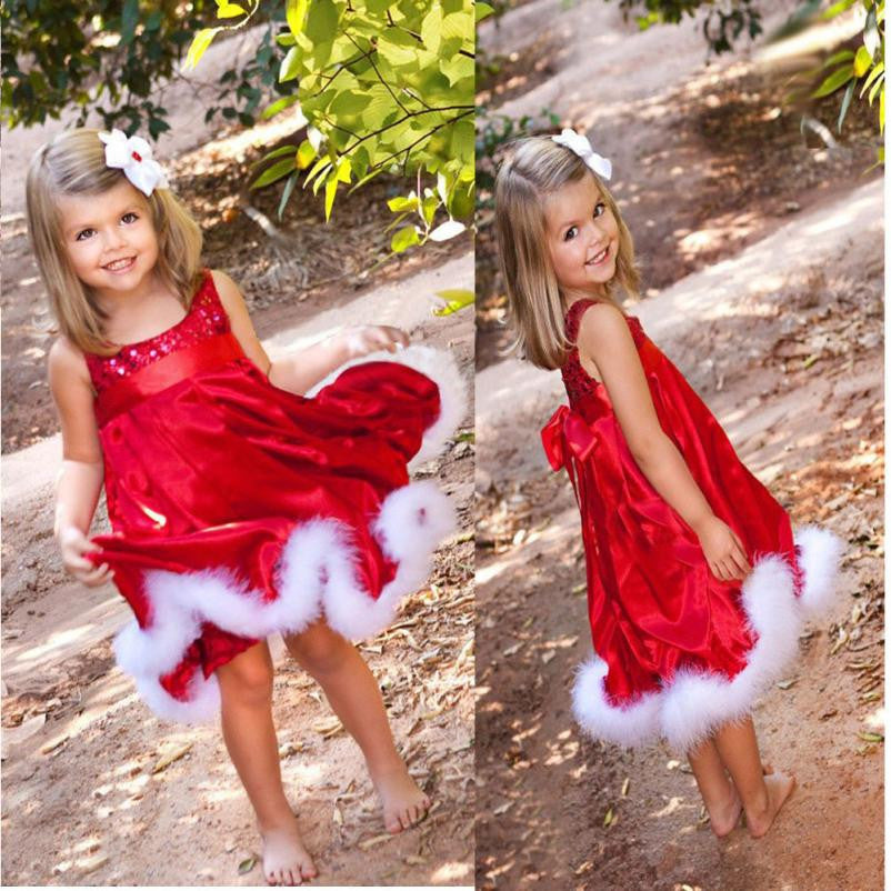 Baby girl Dress Christmas costumes Clothes infant Princess cotton solid Red Paillette Tutu Dresses Xmas Sleeveless girl Clothing