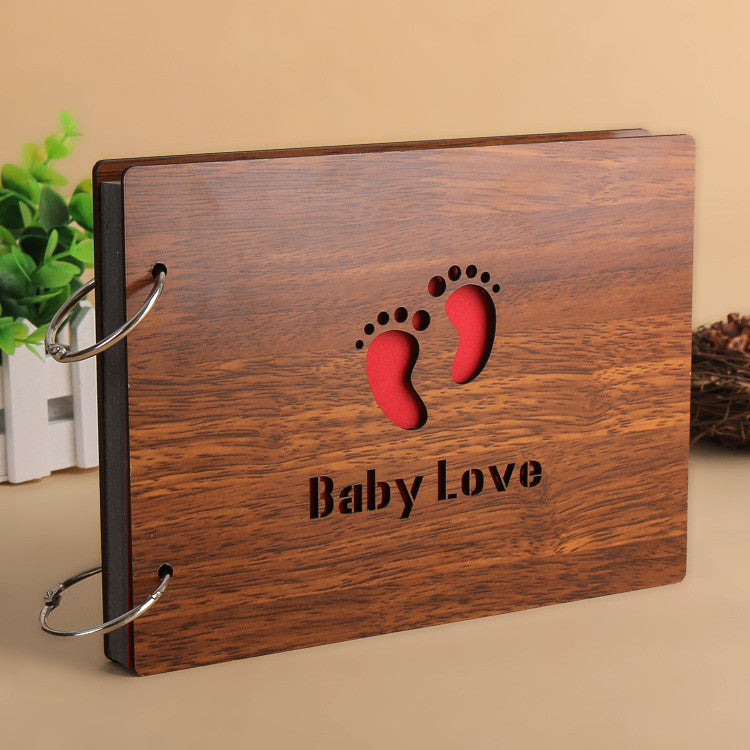 2016 Hot wood Cover Albums Handmade Loose-leaf Pasted Photo Album Personalized baby lovers photo album scrapbooking