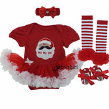 Christmas Baby Rompers Baby Girl's Minnie Mickey Dress Bodysuit Lace 4pcs sets 2017 New Born Autumn Bebe Clothing Infant Clothes