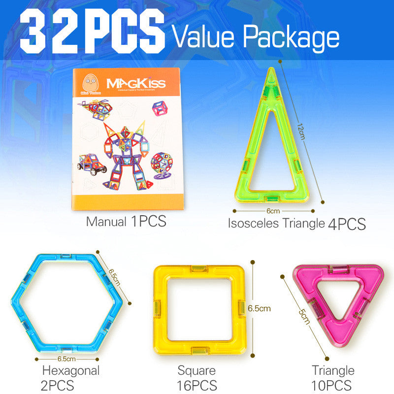 Minitudou Kids Toys 32PCS Enlighten Bricks Educational Magnetic Designer Toy Square Triangle Hexagonal 3D DIY Building Blocks