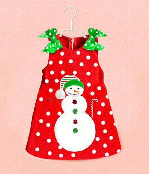 2016 New Baby Girls Christmas Man Dot Dress Costume Cotton children Dresses Christmas Red color children's Clothing 2-6 yrs
