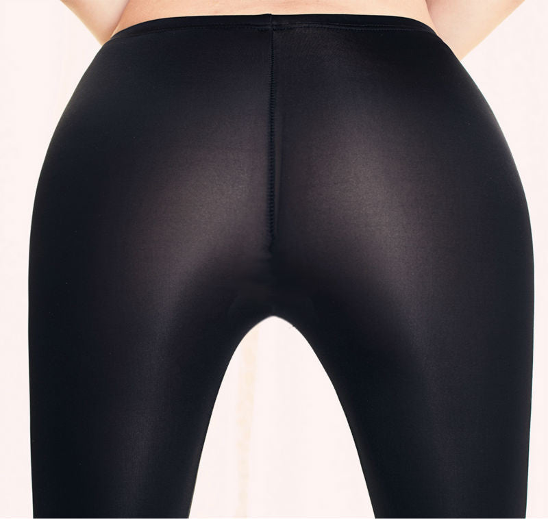 2016 NEW Sexy Slimming Nylon Leggings for Women See Through Shinny Under Sun Sheer Pants Elastic Leggings Plus Size Open Crotch