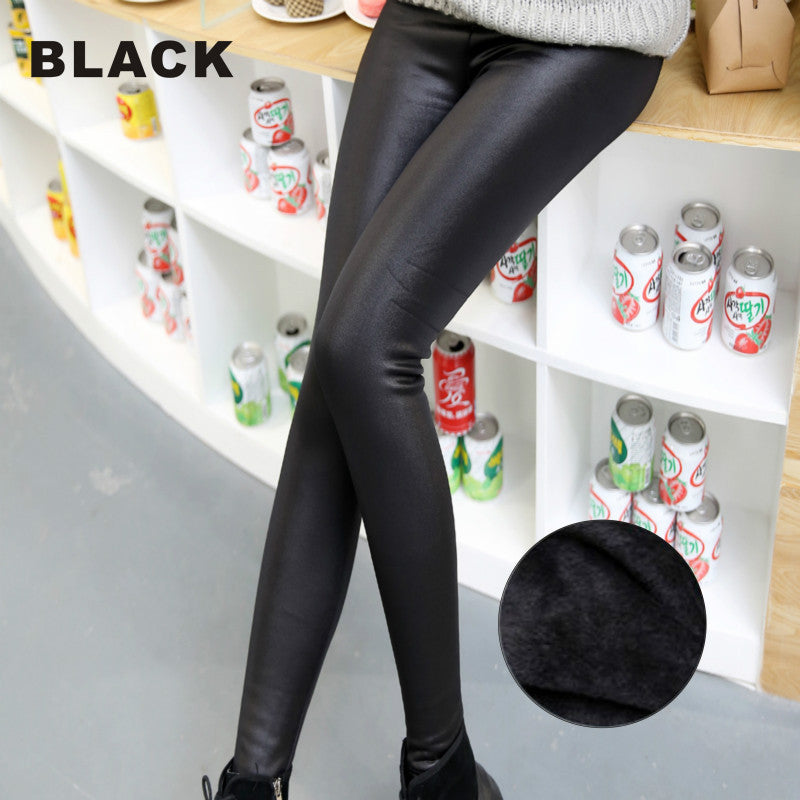 Mollad New 2016 Winter Faux Leather Leggings Slim classic fashion flat Warm Thick leather pants Women Leggings(3 color,L-XXL)