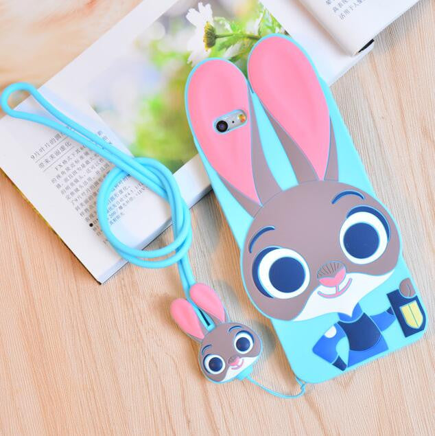 Case + Strap ZOOTOPIA Rabbit Judy Fox Nick Silicone 3D Cover For iPhone 5S 5 SE 6 6s 7 Plus Lovely Cute Animal Phone Accessories