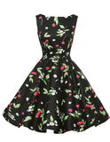 Print floral 50s 60s Vintage dresses Audrey Hepburn Sleeveless 2016 new style summer retro dress Vestidos robe womens clothing