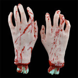 One Pair (one left + one right) Latex Bloody Zombie Scary Hands and Feet for Halloween Props