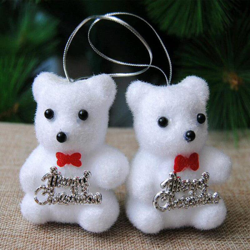 2pcs/bag foam bear christmas tree decoration festival home decor children toys indoor hanging ornament white bear gift