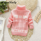 Belababy Baby Girls Autumn Sweaters 2016 New Fashion Long Sleeve Turtleneck Christmas Clothes Children Winter Cartoon Outwear
