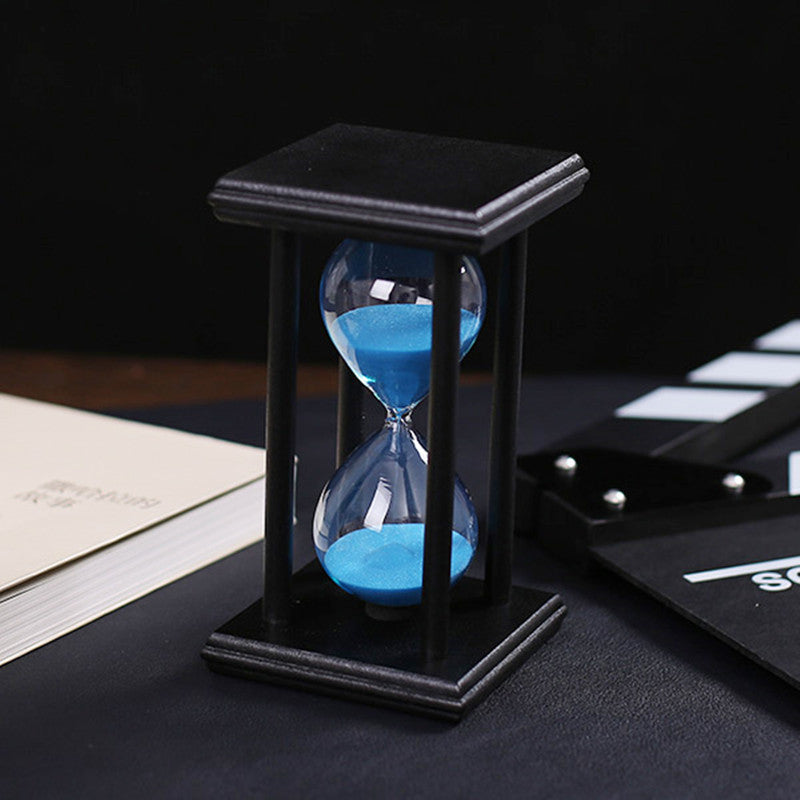 30 Minutes Crystal Transparent sand Hourglass Sandglass Timer With Black Wooden Holder Home Decor ampulheta Free shipping