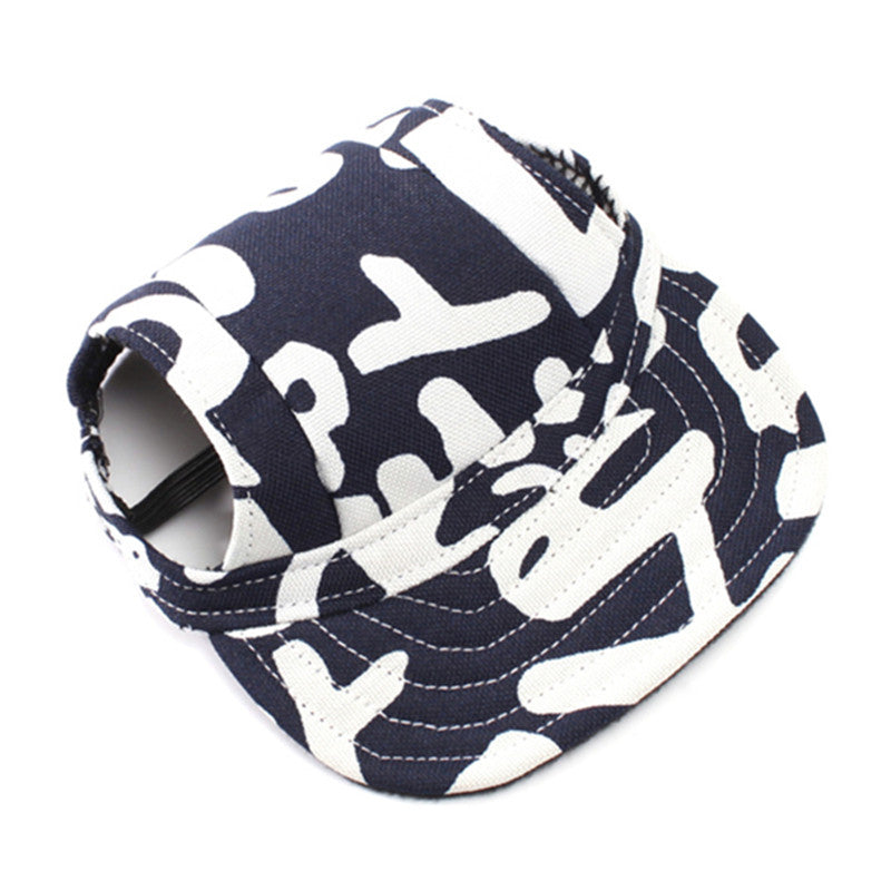 Hot 1pcs Pet Dog Canvas Hat Sports Baseball Cap with Ear Holes for Small Dogs Size S M