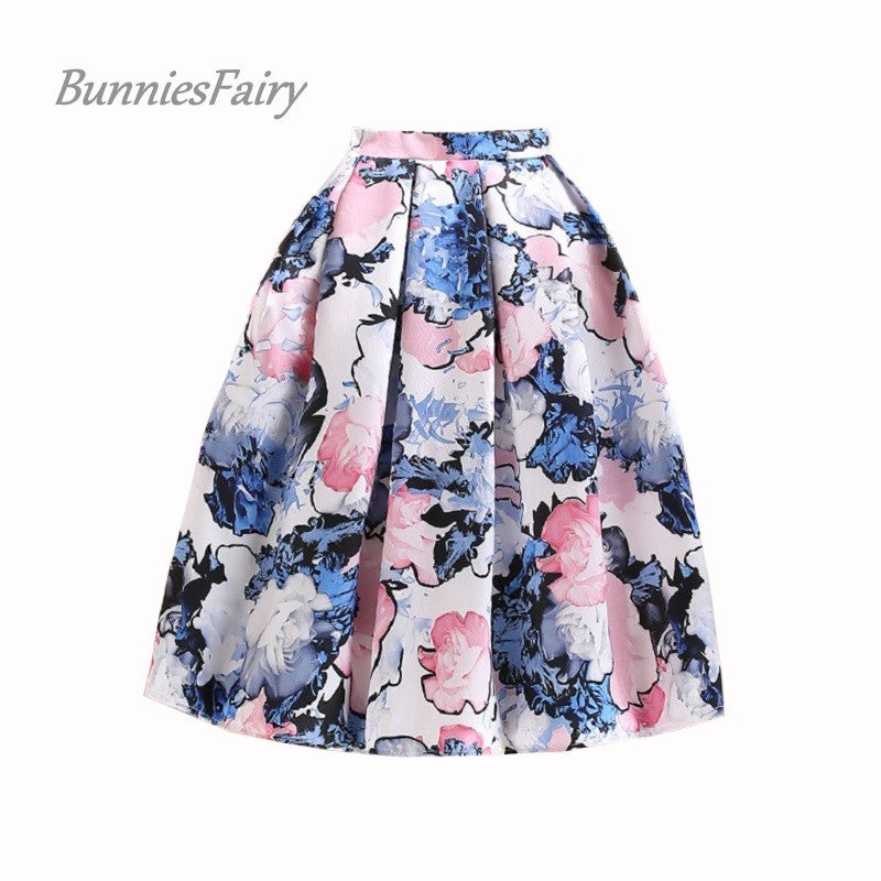 BunniesFairy Brand Original Design 2016 Summer New Womens Elegant Fantasy Flower Floral Print High Waist Midi Skirt Casual Wear