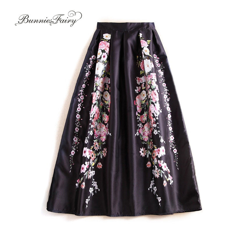 BunniesFairy 2016 Autumn Brand Design 100cm Long Vintage Retro Flower Floral Print Black Maxi Skirt Muslim Women Flared Saias