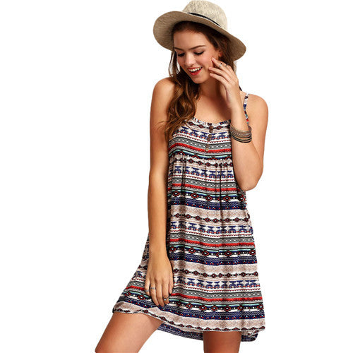 SheIn Dresses For Women Multicolor Sleeveless Spaghetti Strap Aztec Print Buttons Short Vintage Pleated Dress