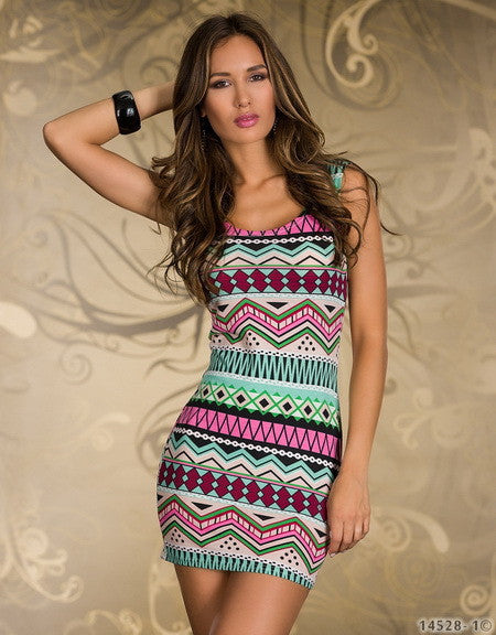 Hot Fashion Vintage Aztec Print Women's Mini Dress Sexy Summer Tank Club Dresses Popular Ladies' Casual Bodycon Dresses YDN115
