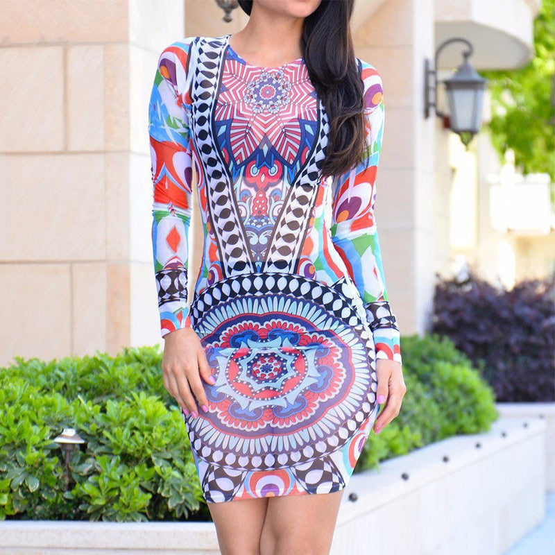 New Arrival 2016 Sexy Women See Through Mesh Dress O-Neck Long Sleeve Mini Bodycon Dress Aztec Printed Party Night Club Dress