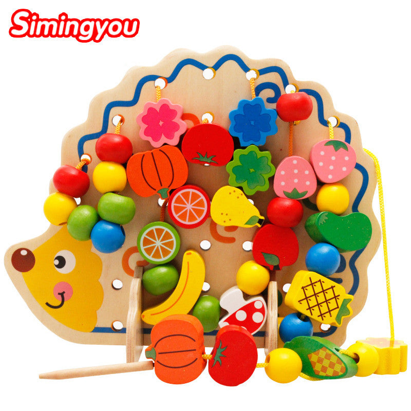 Simingyou Early Learning Wooden Toys Hedgehog Fruit Beads Child Hand Eye Coordination Skills Development Educational MZ0501051