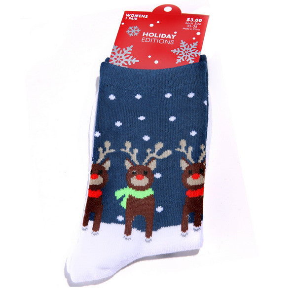 Hot Sale 2014 Winter Cotton Christmas Snowflake Deer Design Womens Middle Tube Socks
