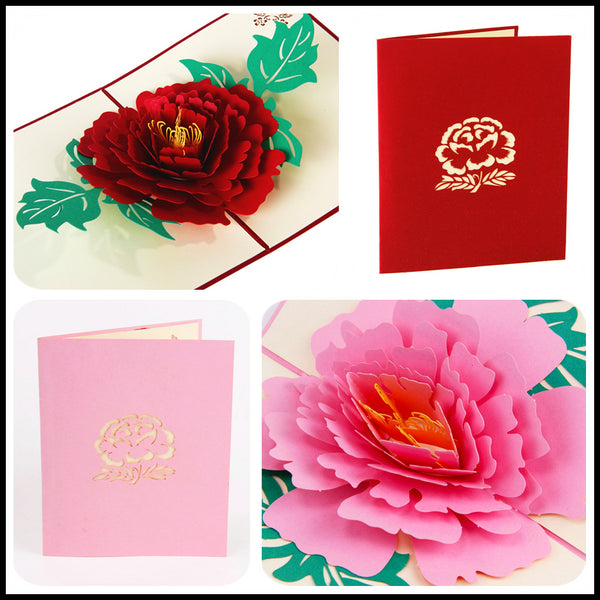 3D Peony Handmade Pop Up Card Greeting Gift In Red Pink Thanks