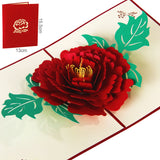 3D Peony Handmade Pop Up Card Greeting & Gift Card in Red Pink Thanks you Cards for lover Happy birthday post cards