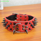 100% High Leather Sharp Black Spikes Medium Large Dog Pet Collar  Matched Genuine Leather Leashes Lead