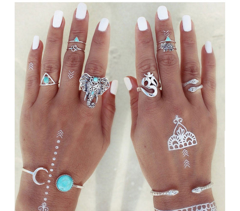 Fashion Maxi Ring trendy Ethnic style Ring 8pcs/set Gypsy Charm jewelry  for women
