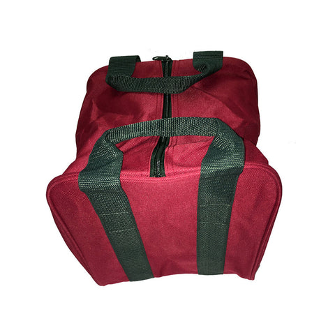 Bocce Ball Bag - Maroon with Green Handles