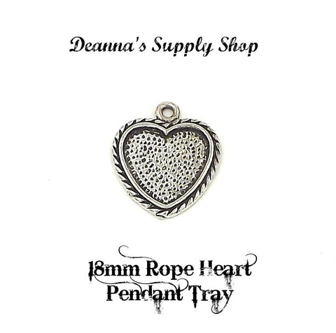 18mm Rope Heart Pendant Tray Antique Silver