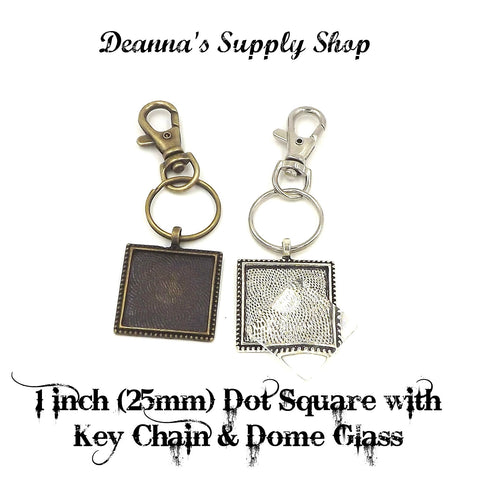1 inch (25mm) Square Dot Pendant Key Chain & Dome Glass 2 Different Colors to Choose From