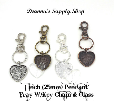 1 inch (25mm) Heart Pendant Key Chain & Dome Glass 4 Different Colors to Choose From