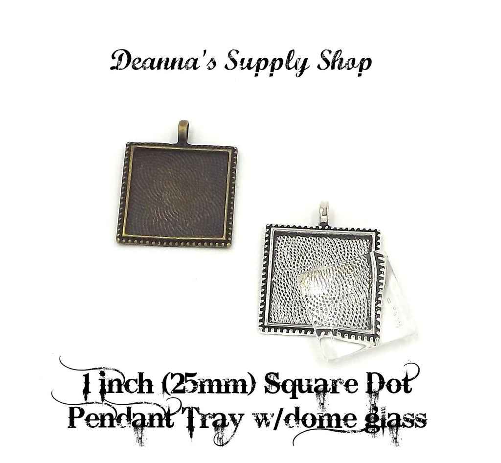 1 inch (25mm) Square Dot Pendant Tray with glass dome 5 Different Colors to Choose From