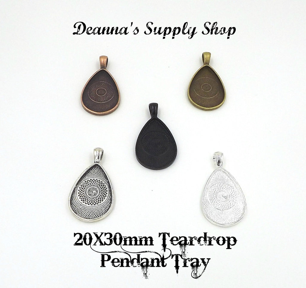20X30mm Teardrop Pendant Tray 5 Different Colors to Choose From
