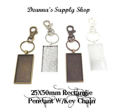 25X50mm Rectangle Pendant Key Chain 4 Different Colors to Choose From
