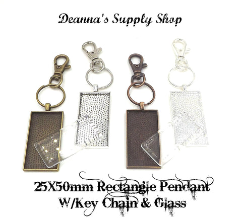 25X50mm Rectangle Pendant Key Chain with glass 4 Different Colors to Choose From