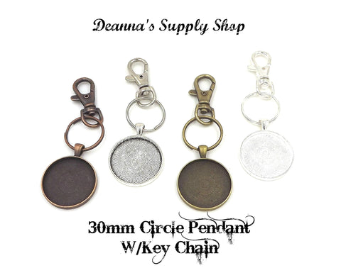 30mm Circle Pendant Key Chain 4 Different Colors to Choose From