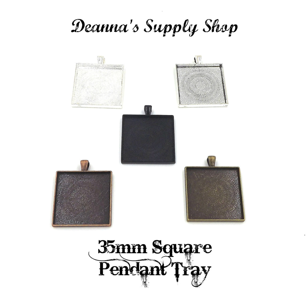 35mm Square Pendant Tray 5 Different Colors to Choose From