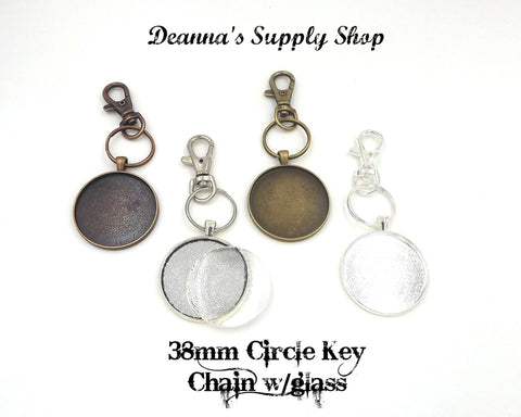 38mm Circle Pendant Key Chain with Glass 4 Different Colors to Choose From