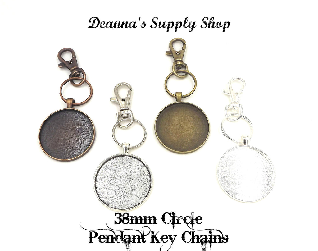 38mm Circle Pendant Key Chain 4 Different Colors to Choose From