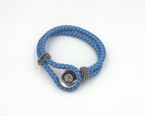 Leatherette/Metal blue Snap Bracelet fits 18mm Snap Buttons