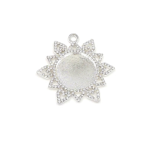 1 inch (25mm) Snowflake Pendant Tray in Silver