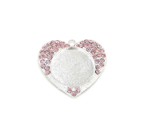 1 inch (25mm) Heart Pink Pendant Tray