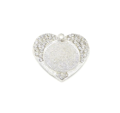 1 inch (25mm) Heart Silver Pendant Tray