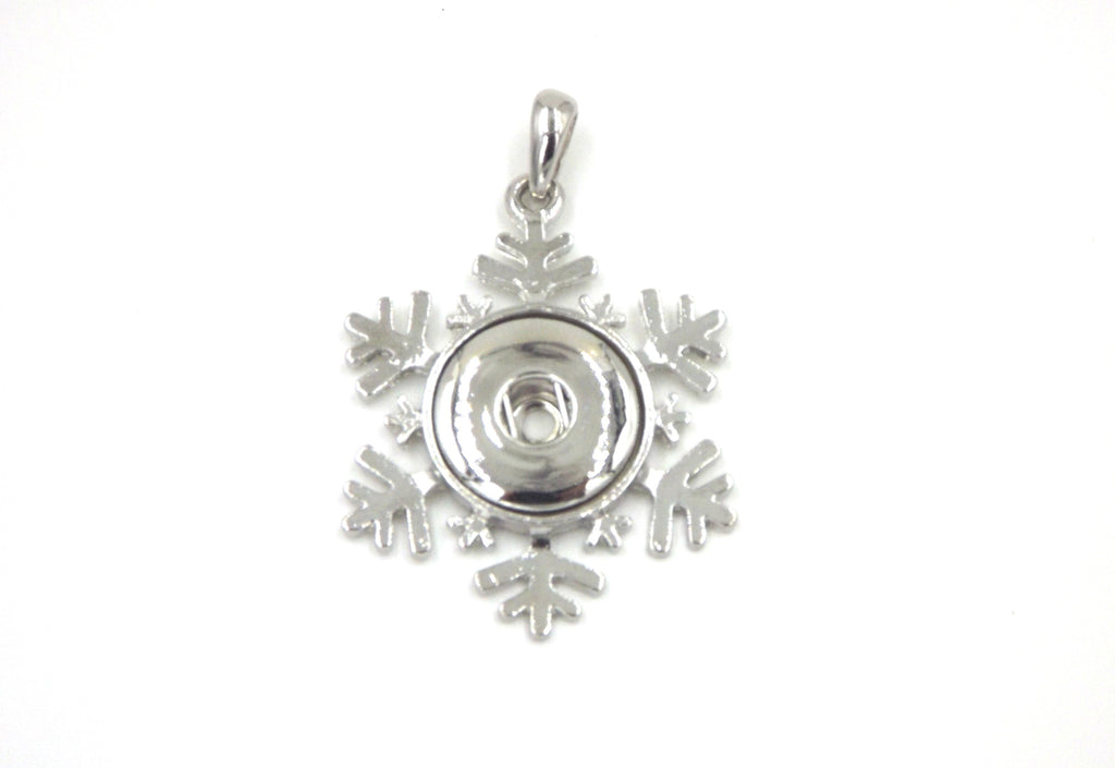 1 snowflake Pendant - FITS 18MM Candy Snap Charm Jewelry Silver