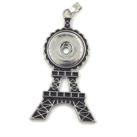 1 Eifle Tower Pendant - FITS 18MM Candy Snap Charm Jewelry Silver and Black