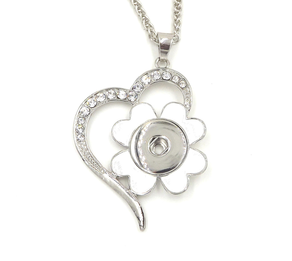 Heart Flower pendant necklace - FITS 18MM Snap Snaps Charm Jewelry Silver