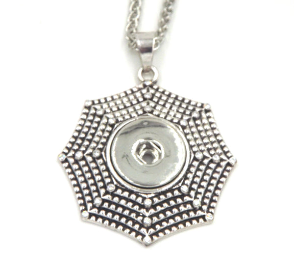 1 Heart spiderweb pendant necklace - FITS 18MM Snap Snaps Charm Jewelry Silver